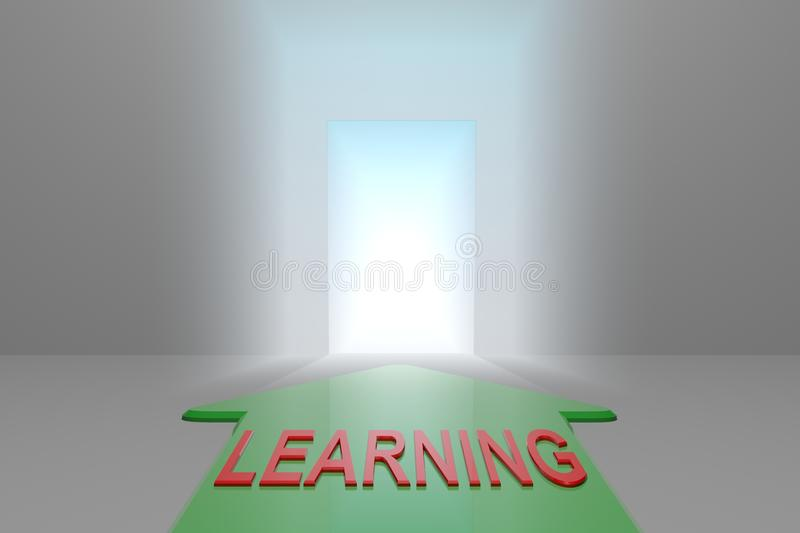 Learning to the open gate. Green arrow with learning word front of the open gate , 3d rendered royalty free illustration