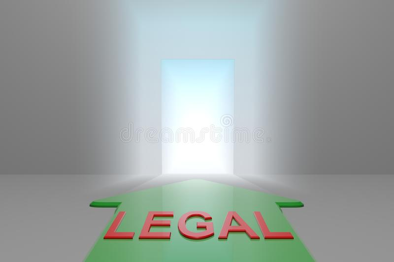 Legal to the open gate. Green arrow with legal word front of the open gate , 3d rendered stock illustration