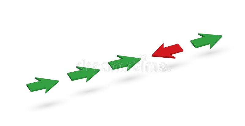 In the green arrow line, one red arrow is pointing in the opposite direction royalty free illustration
