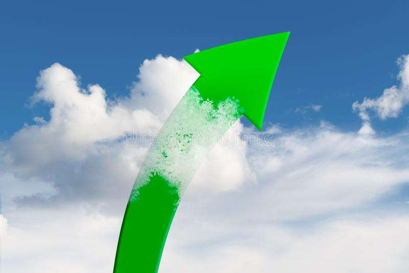 Green Arrow Rises Up in Clouds. Green arrow rises in clouds on blue sky stock photos