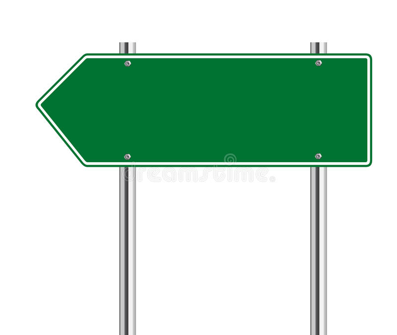 Green arrow to the left road sign. On white stock illustration
