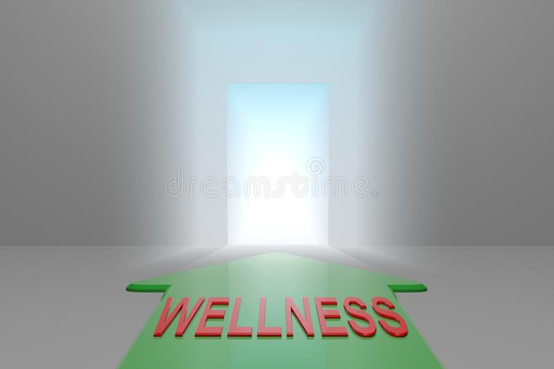 Wellness to the open gate. Green arrow with the wellness word front of the open gate , 3d rendered stock illustration