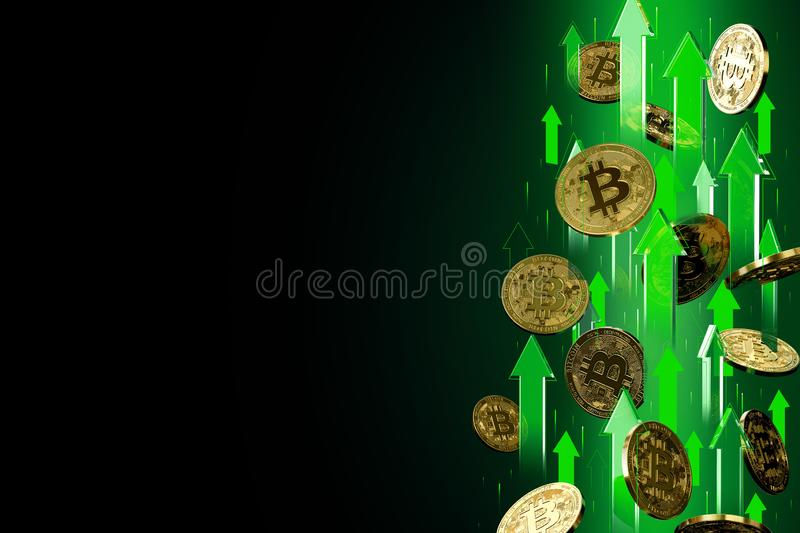 Green arrows pointing up as Bitcoin BTC price rises. Isolated on black background, copy space. Cryptocurrency prices grow. Concept. 3D render stock illustration