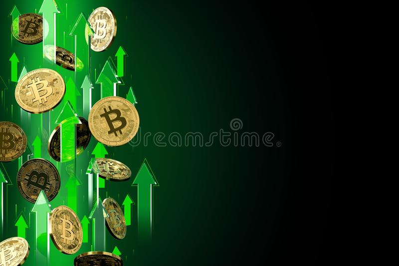 Green arrows pointing up as Bitcoin BTC price rises. Isolated on black background, copy space. Cryptocurrency prices grow. Concept. 3D render royalty free illustration