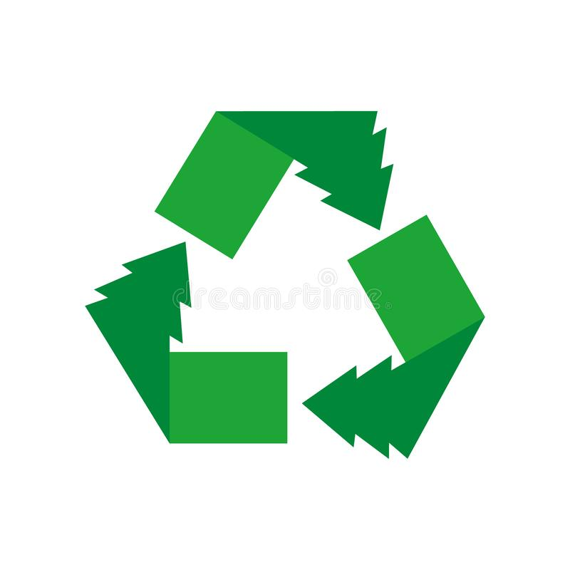 Green arrows recycle eco symbol vector illustration isolated on white background. Recycled sign. Cycle recycled icon. Recycled. Materials symbol vector illustration