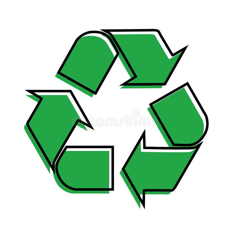 Green arrows recycle eco symbol vector illustration isolated on white background. Recycled sign. Cycle recycled icon. Recycled. Materials symbol royalty free illustration