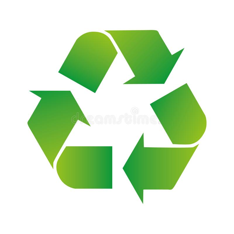 Green arrows recycle eco symbol vector illustration isolated on white background. Recycled sign. Cycle recycled icon. Recycled. Materials symbol stock illustration