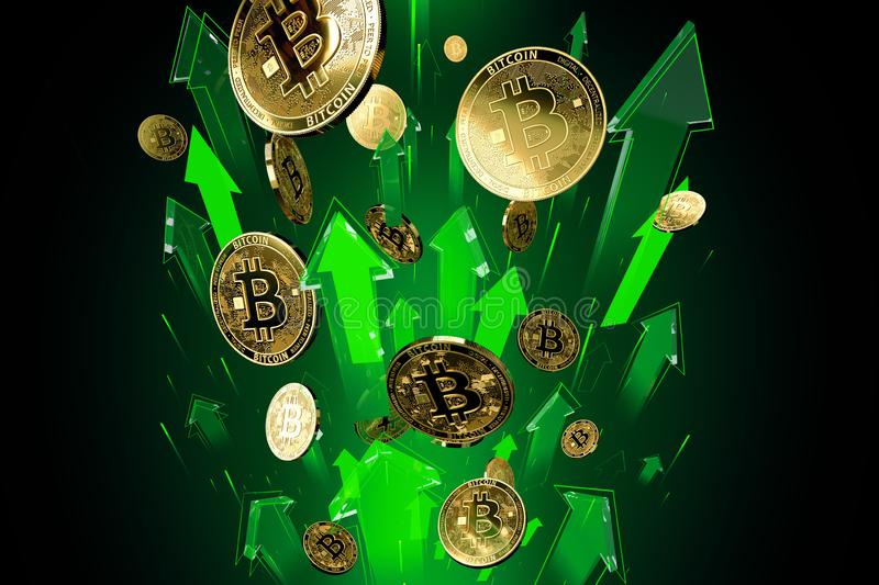 Green arrows shots up with high velocity as Bitcoin BTC price rises. Cryptocurrency prices grow, high risk - high profits. Concept. 3D render stock illustration