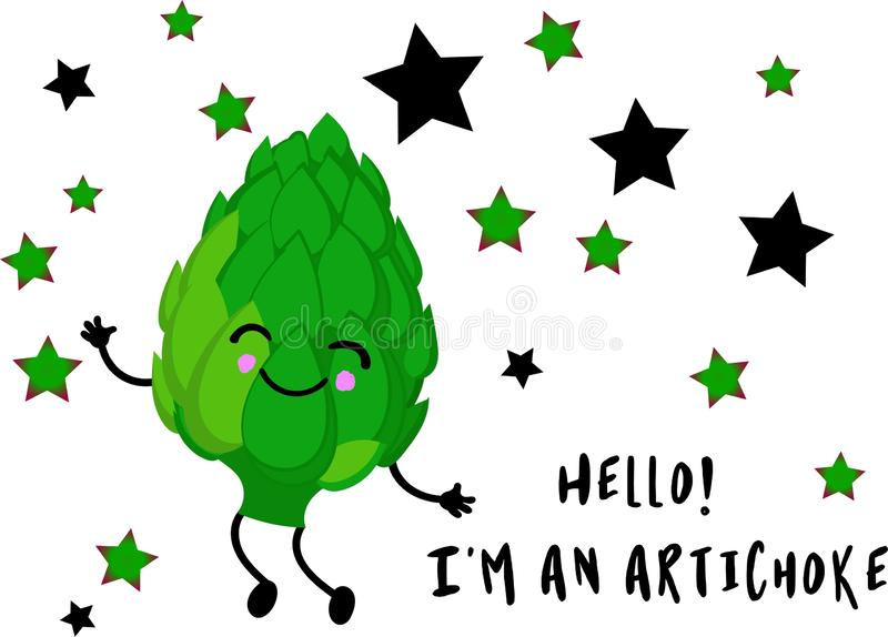 Green artichoke character with arms and legs on a white background. Smiles and eyes on their faces. Funny vegetables.  vector illustration