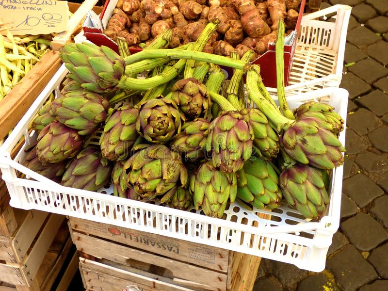Green artichokes in the farmers market Rome, Italy. Green artichokes farmers market rome italy brick paved fresh vegetable royalty free stock photos