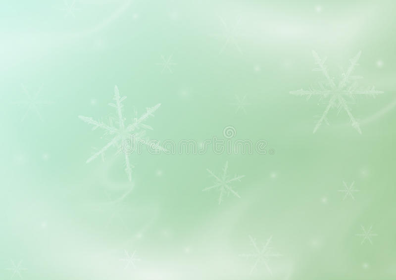 Green asbtarktny gentle winter Christmas background with snowflakes. Green abstract snow winter Christmas holiday background with snowflakes royalty free stock photos