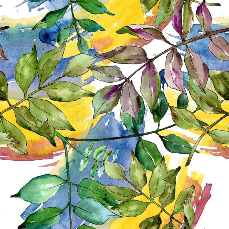Green ash leaves. Leaf plant botanical garden floral foliage. Seamless background pattern. stock illustration