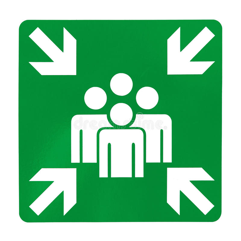 Download Green assembly point sign stock photo. Image of business - 31456978