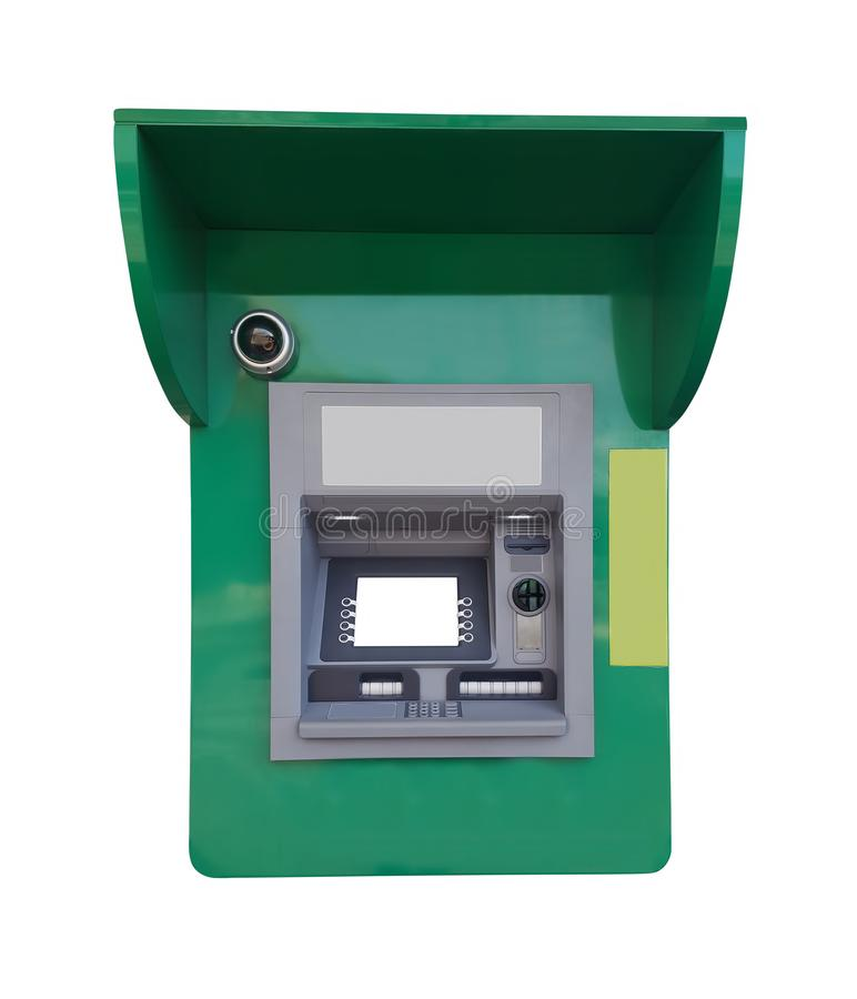 Green ATM for money withdrawal isolated on white stock photo