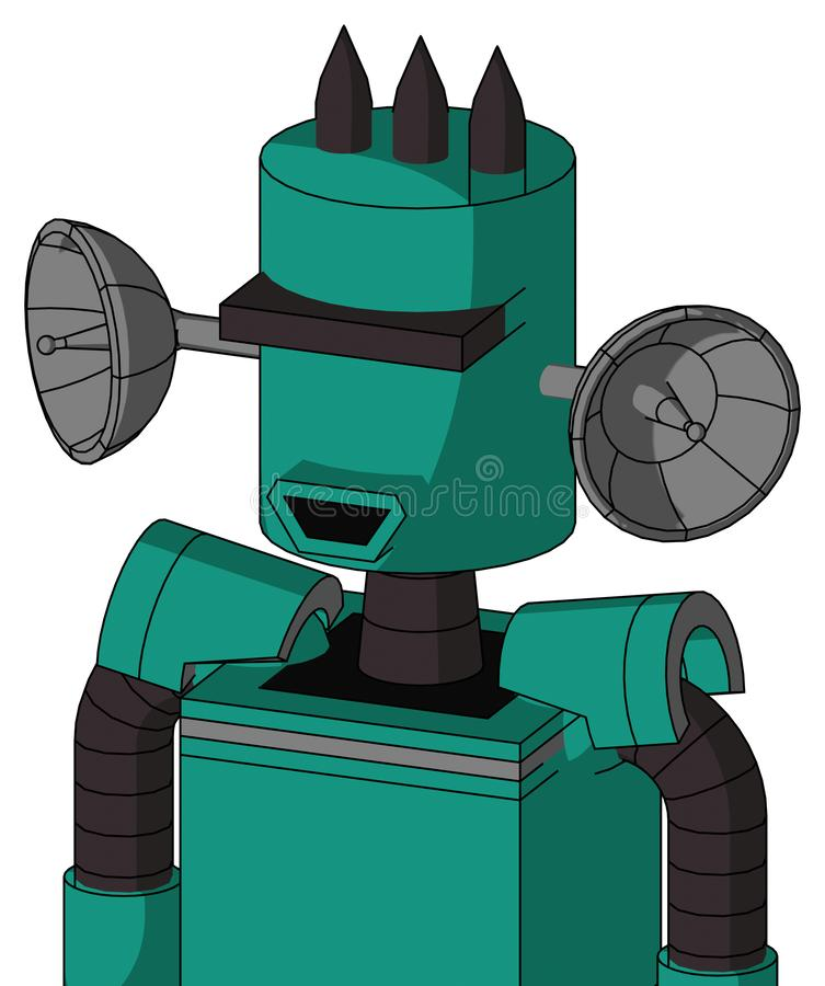 Green Automaton With Cylinder Head And Happy Mouth And Black Visor Cyclops And Three Dark Spikes. Portrait style Green Automaton With Cylinder Head And Happy royalty free illustration