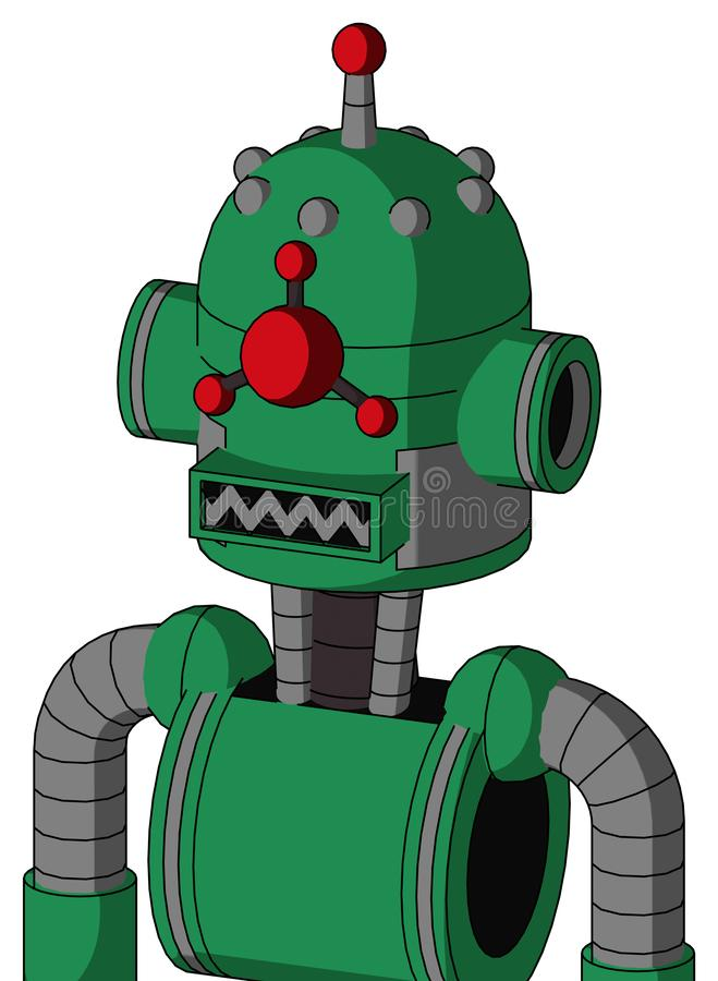Green Automaton With Dome Head And Square Mouth And Cyclops Compound Eyes And Single Led Antenna. Portrait style Green Automaton With Dome Head And Square Mouth vector illustration