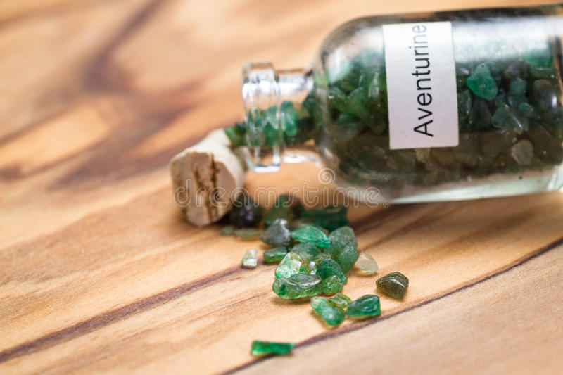 Green aventurine in a jar stock images