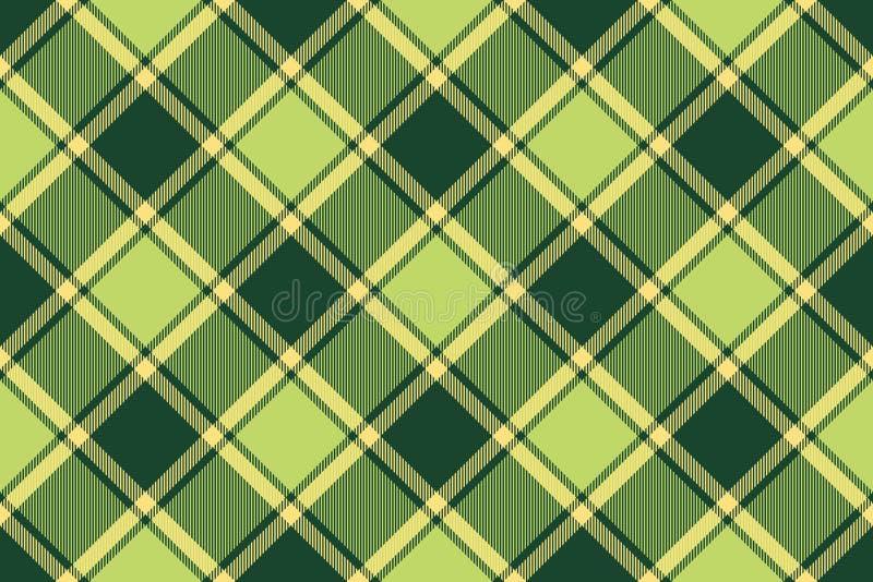 Green avocado tartan fabric seamless texture stock illustration