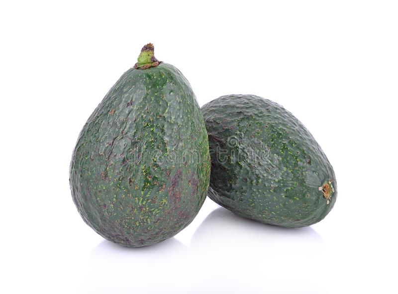 Green avocados isolated on the white background stock photography