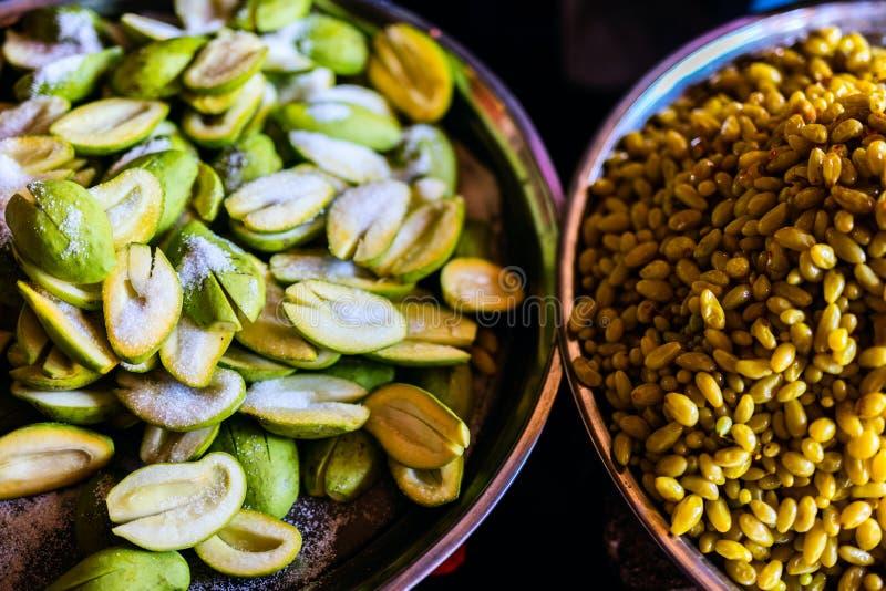 Green avokados with salt royalty free stock images