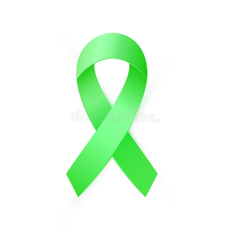 Free Green Awareness Ribbon For Organ Transplant And Donation Awareness, Scoliosis, Mental Health Symbol. Stock Photos - 128317093