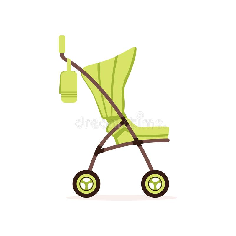 Green baby carriage, safe handle transportation of toddler vector Illustration. On a white backgroun stock illustration