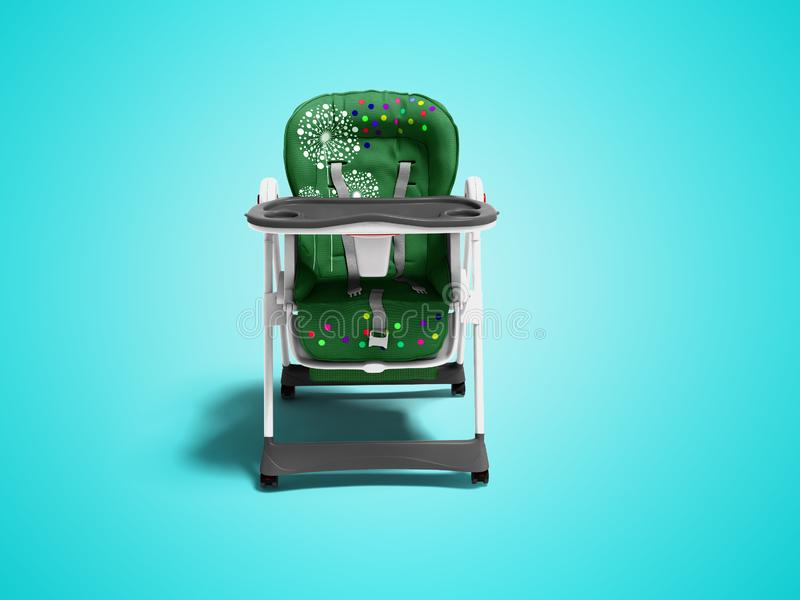 Green baby chair for feeding the child front view 3d render on blue background with shadow royalty free illustration