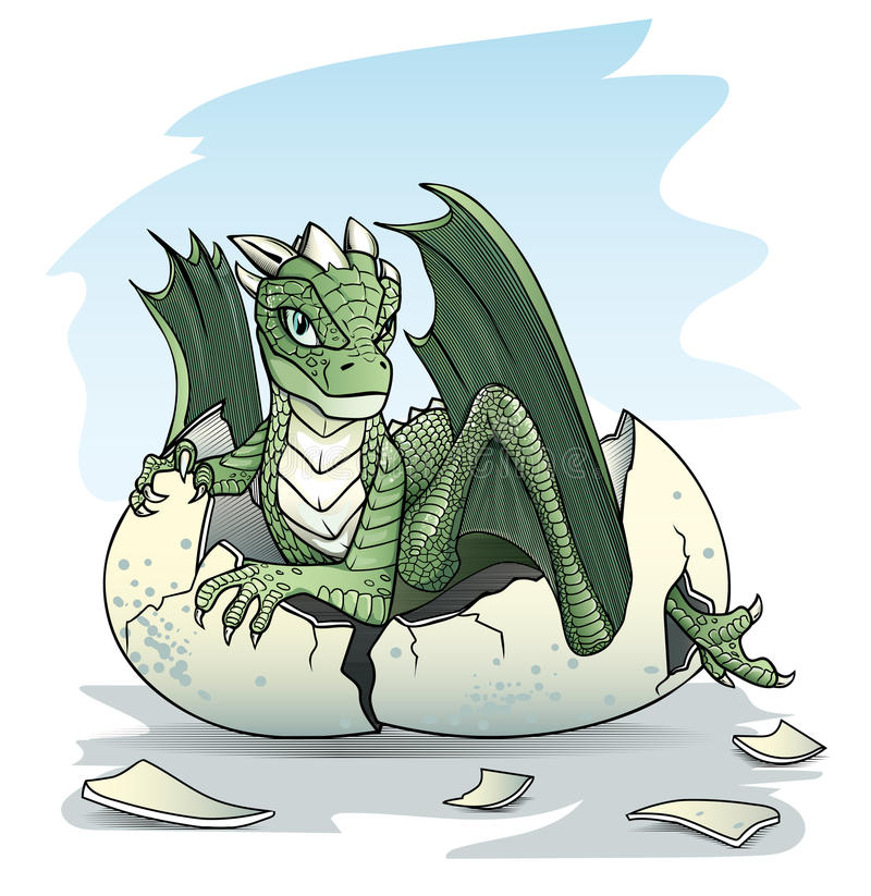 Green baby dragon piping from an egg. On sky background royalty free illustration