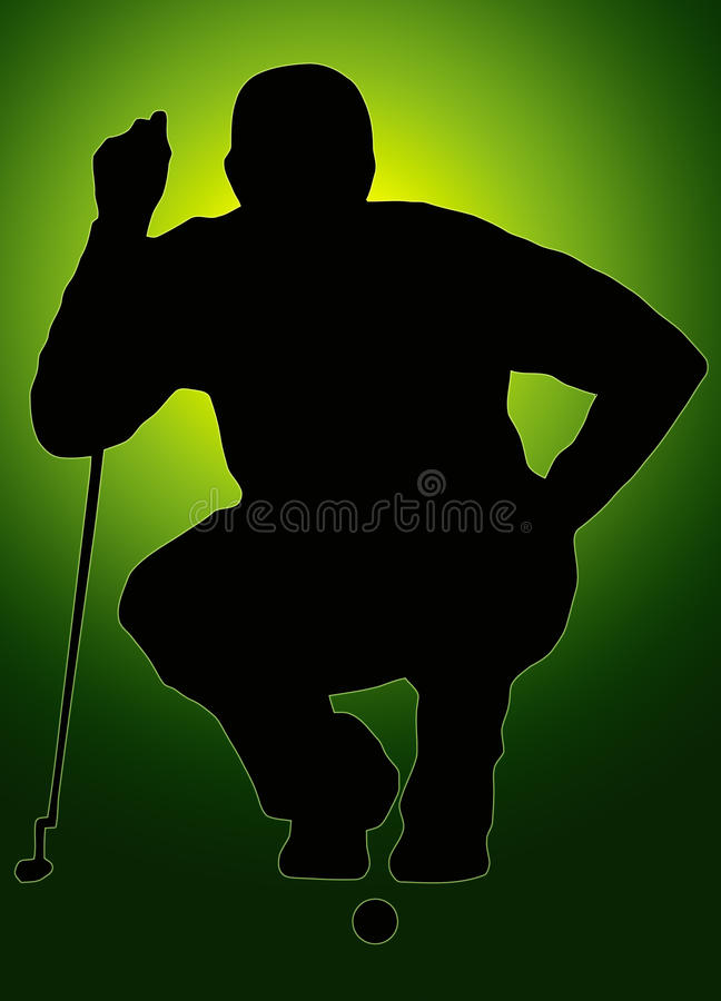 Green Back Sport Silhouette Golfer Sizing put up stock photography