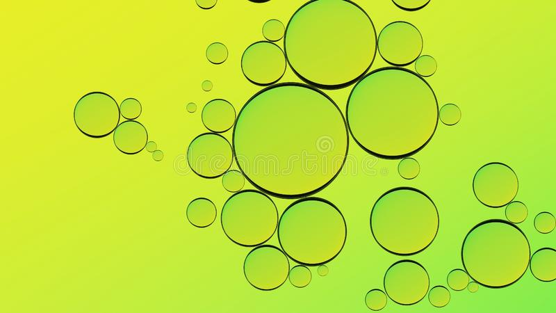Green backdrop. Water oil bubbles abstract design. Green liquid splash background macro. Olive oil. royalty free stock images