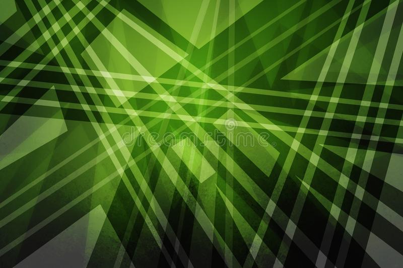 Green background with abstract triangles polygons lines and stripes in modern art background design stock illustration