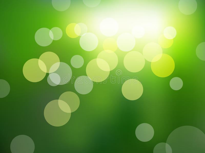 Green background with bokeh effect stock illustration