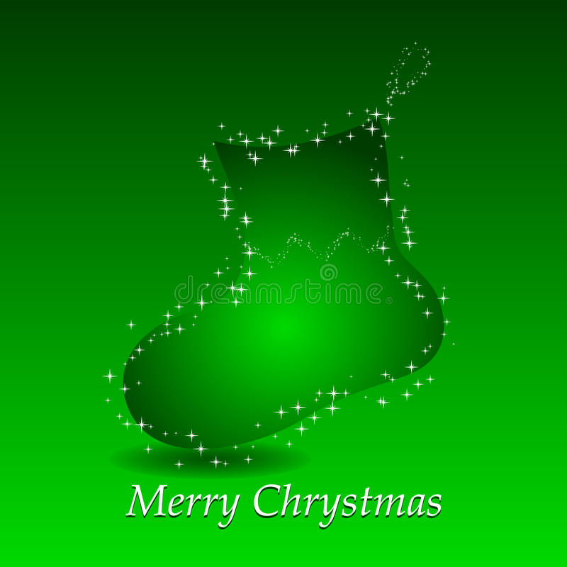 Download Green Background With Christmas Gift Sock Stock Vector - Image: 12028395