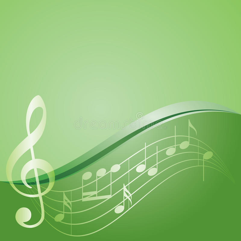 Green background - curved music notes - vector vector illustration