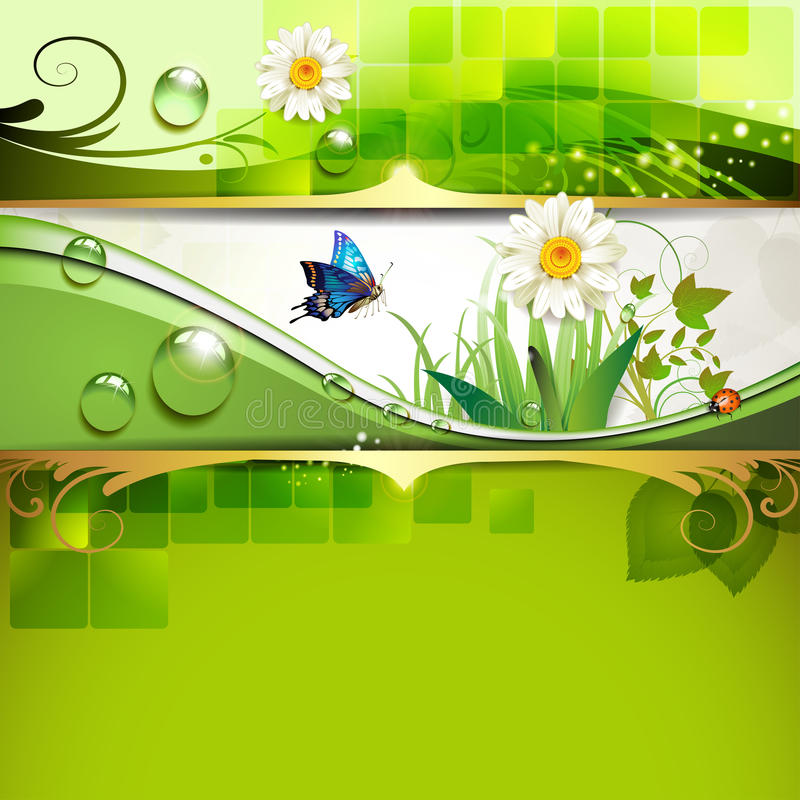 Green background with daisy. And drops of water stock illustration
