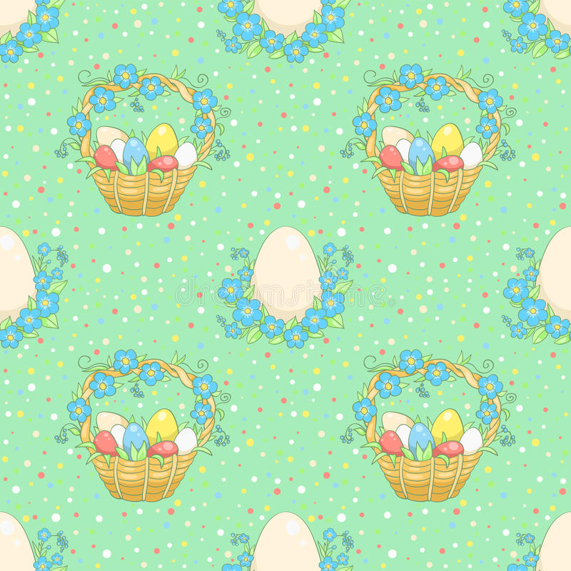 Download Green Background With Easter Basket Stock Vector - Illustration of grass, blossom: 36272035