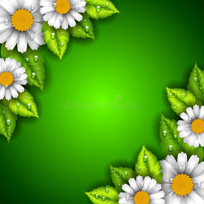 Green background with flowers and leaves
