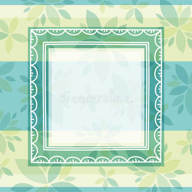 Green background with frame and flowers vector illustration