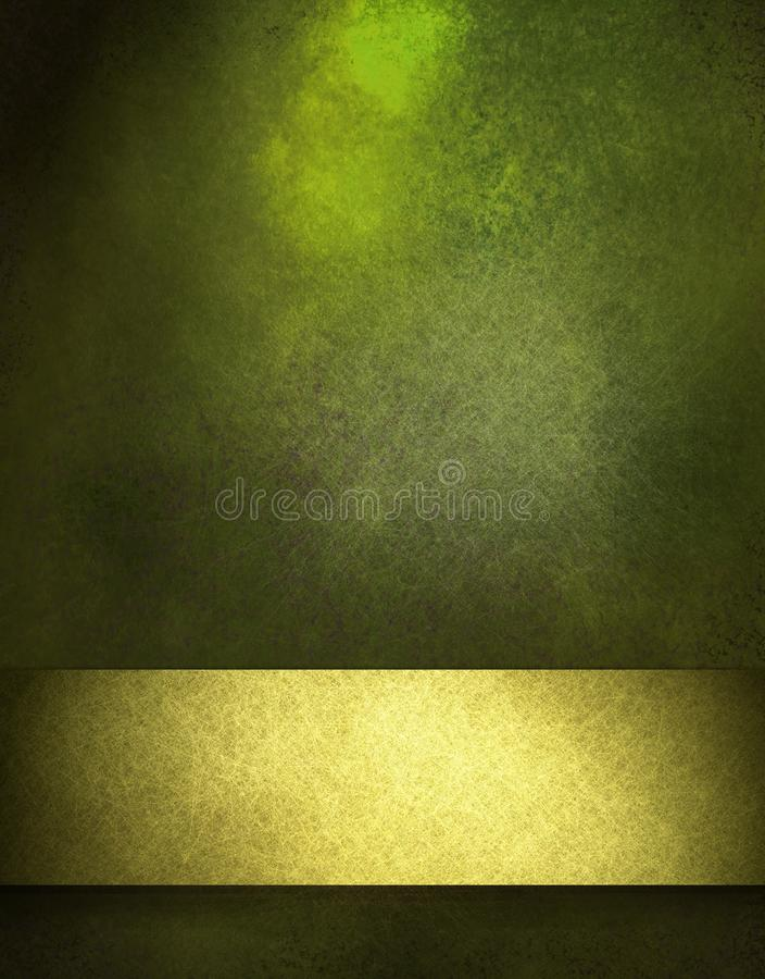 Green Background with gold ribbon stock photos