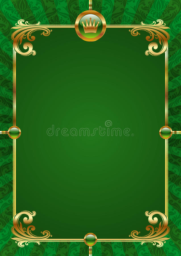 Green background with golden luxury frame vector illustration