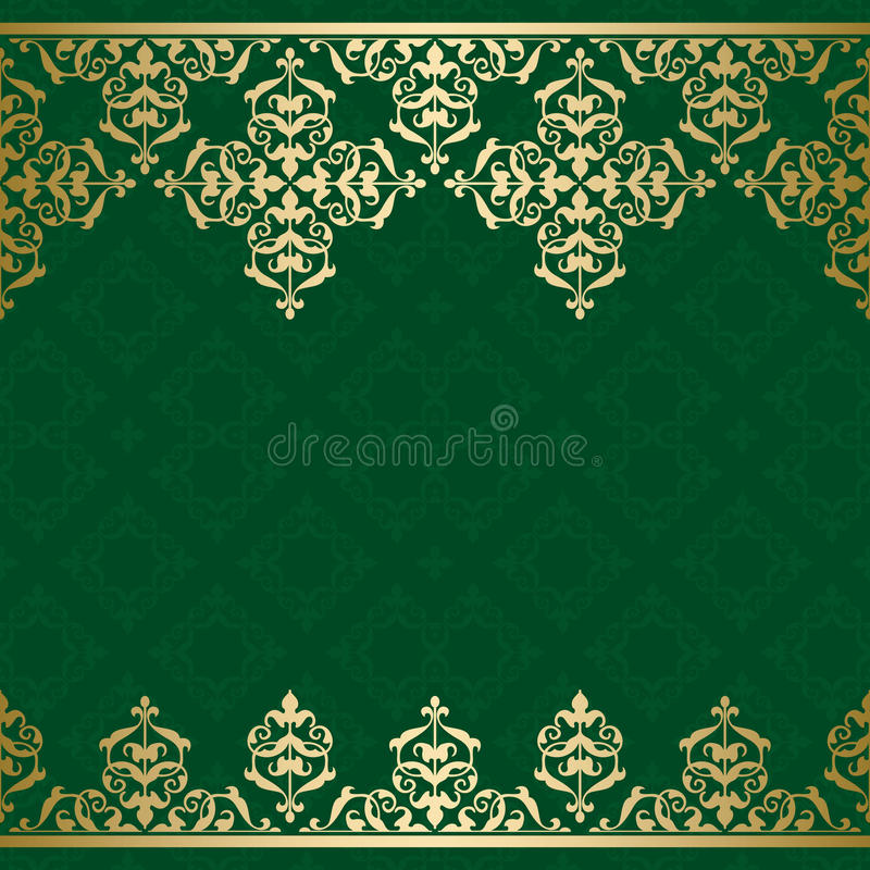 Green vector background with golden vintage orname royalty free illustration