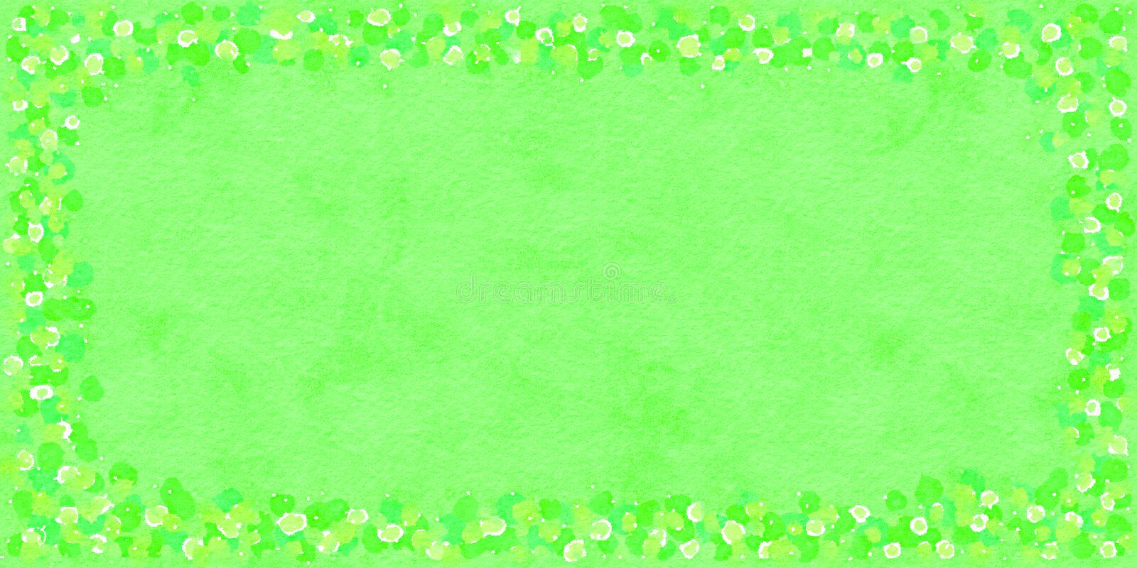 Decorative frame of round green and yellow elements on a bright green background. royalty free illustration