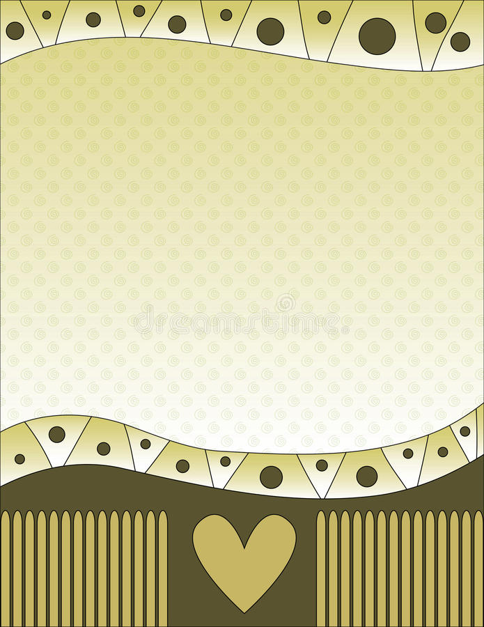 Download Green Background With Heart And Curls Stock Illustration - Image: 20747137
