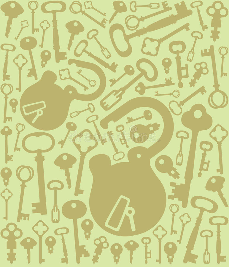 Download Green Background With Keys And Lock Stock Illustration - Image: 9733858