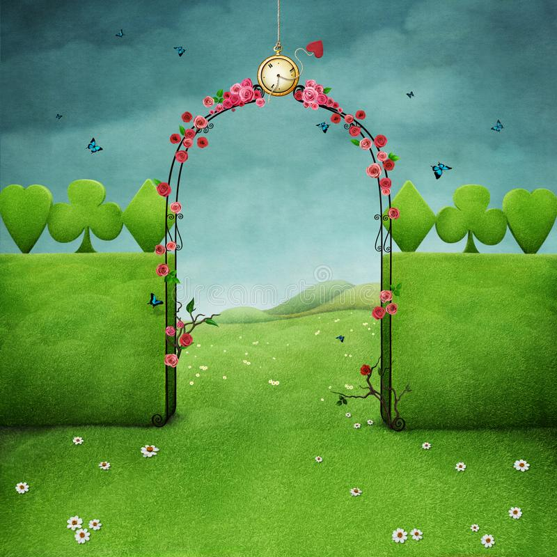 Green background. Green landscape with lawn and gate archway with roses and clock . Computer graphics stock illustration