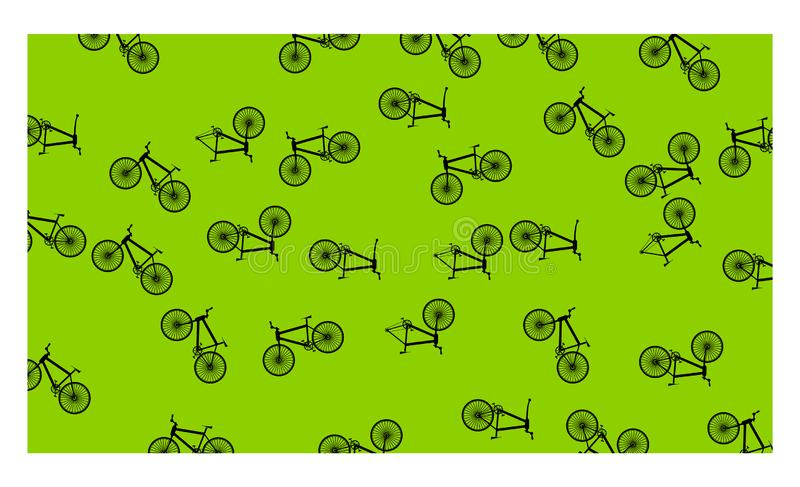 Green background with many bicycles - vector illustration stock illustration