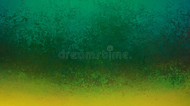 Green background with old grunge gold border design, lots of distressed texture stock photo