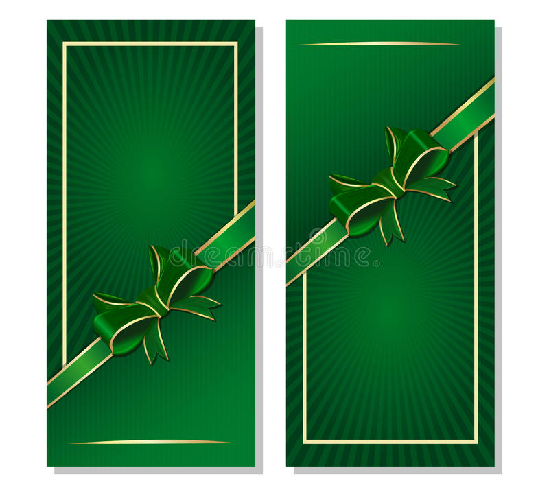 Green background with ribbon and bow for St. Patricks Day and festive events vector illustration