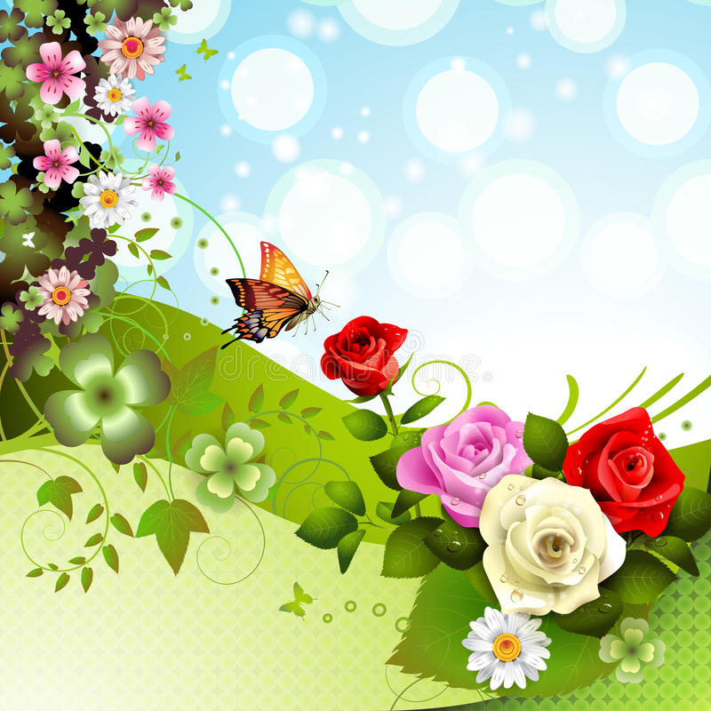 Green background with roses royalty free illustration