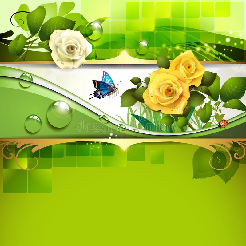 Green background with roses vector illustration